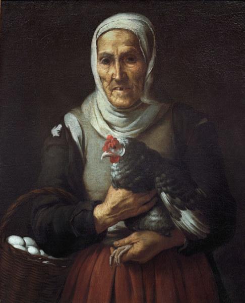 B.E. Murillo, Altes Hoekerweib - - B.E. Murillo, Vieille femme a la poule
