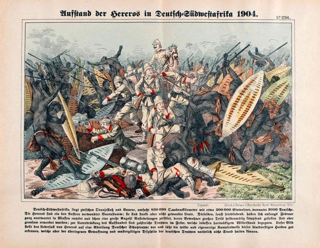Deutsch-Südwestafrika, Hereroaufstand 1904/5. Lithographie, koloriert. Druck: C. Burckurdt's Nachf., Weissenburg (Nr. 1796). akg-images