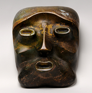 JSC391821 Mask of Apollo in Autumn, 1933 (painted wood) (see also 391822) by Underwood, Leon (1890-1975); height: 27 cm; The Sherwin Collection, Leeds, UK; English, in copyright PLEASE NOTE: Bridgeman Images represents the copyright holder of this image and can arrange clearance.